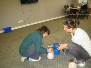 Airway management and artificial respiration in CPR course